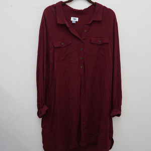 NWT Old Navy Burgundy Popover Tunic Shirt Blouse
